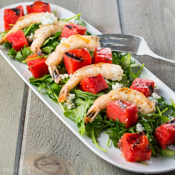 Grilled-Watermelon-Salad-with-Shrimp-and-Arugula