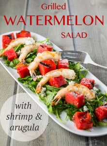 Grilled-Watermelon-with-Shrimp-and-Arugula Salad